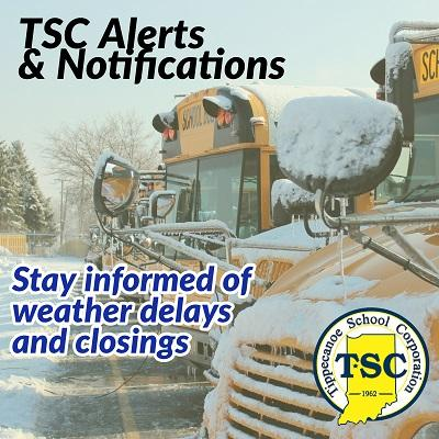 TSC alerts and notifications. Bus covered in snow