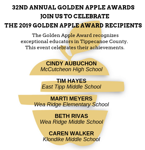 Golden apple winners Cindy Aubuchon Tim Hayes Marti Meyers Beth Rivas and Caren Walker