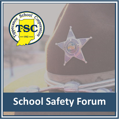 School safety forum image with sheriff's deputy hat and TSC logo