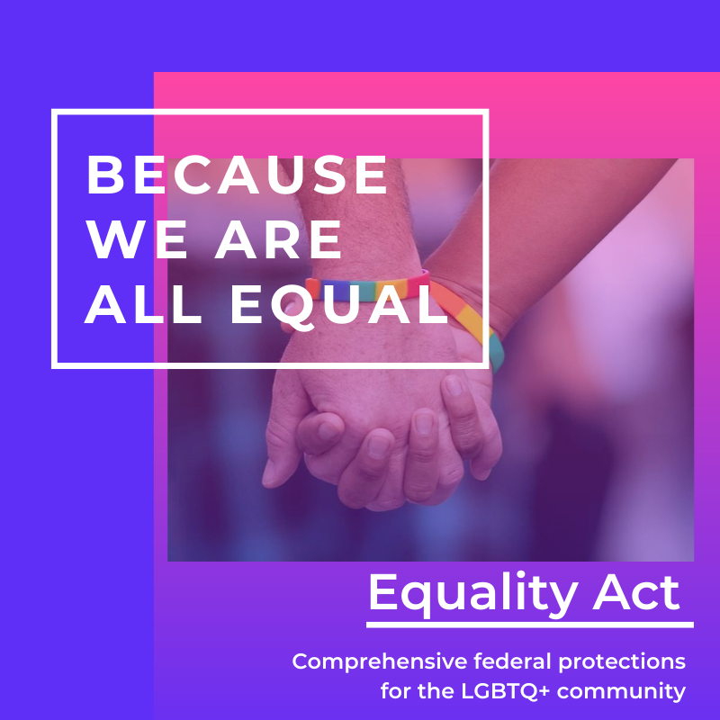 """Purple and Pink background with two hands holding each other. The text reads, """"Because we are all equal. Equality Act: Comprehensive federal protections for LGBTQ+ community."""""""