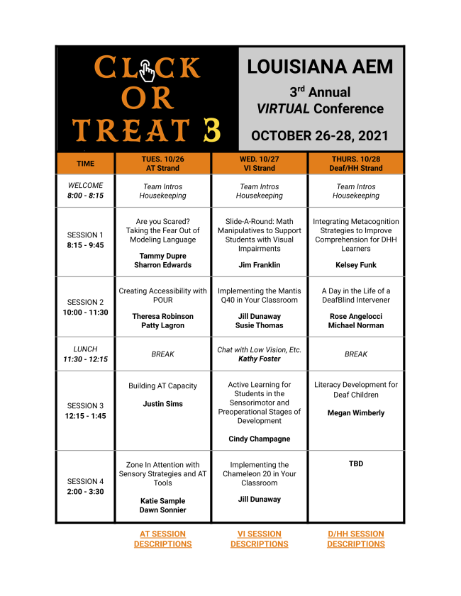 Click or Treat Schedule