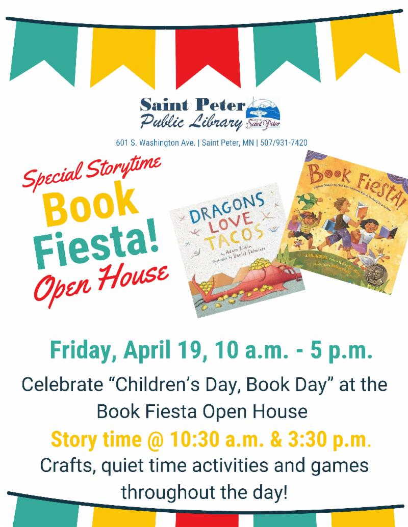 Special Storytime Book Fiesta Open House, April 19, 10:30 and 3:30