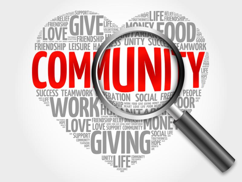Community word cloud with magnifying glass, concept