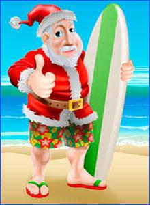 Santa and Surfboard