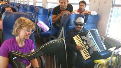 Sunita on a bus