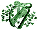 Harp with shamrocks