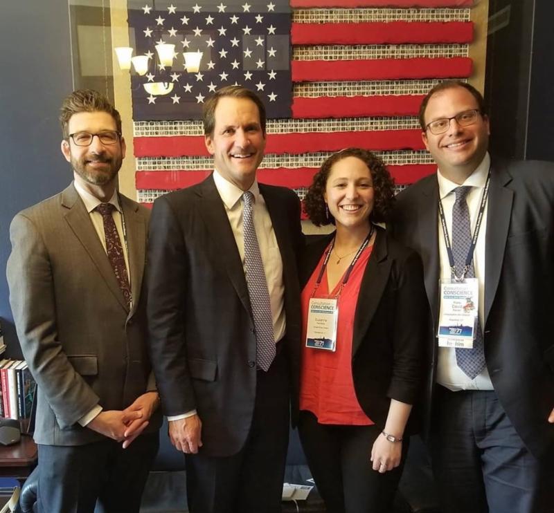 Rabbi Schultz Congressman Jim Hines Student Cantor Hamstra Rabbi Reiner at the 2019 Consultation of Conscience