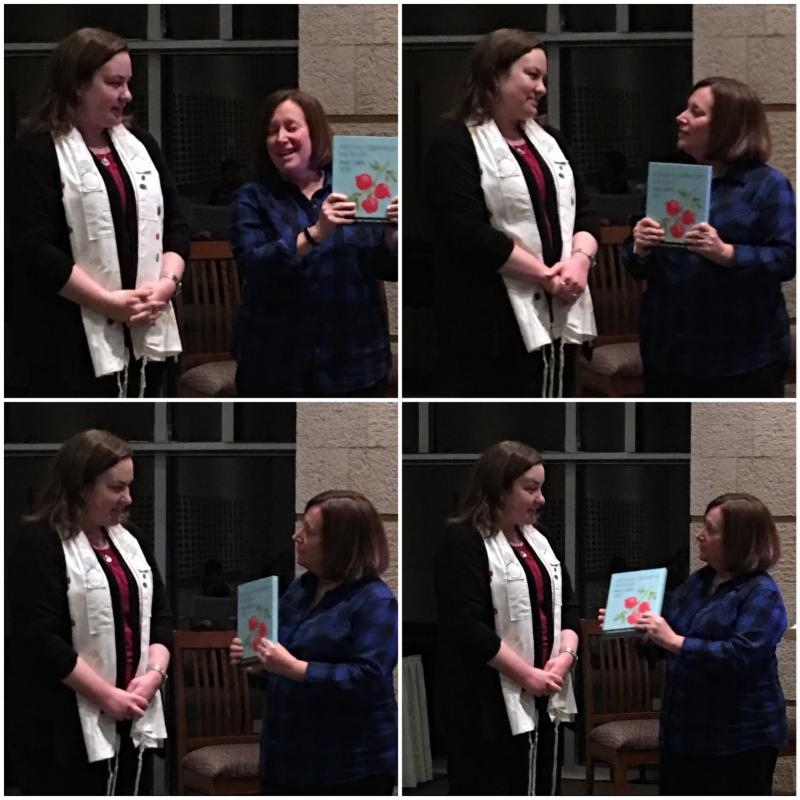At the Colorful Shabbat Family Service on December 1 Cindy Baulsir presented Rabbi Bearman with a copy of Mishkan HaNefesh For Youth with a congratulatory inscription along with another copy for Rabbi Bearman to inscribe for the Temple Bnai Chaim library.