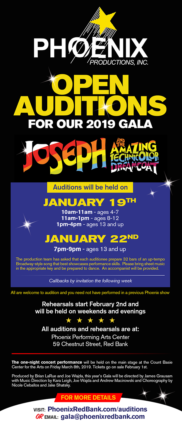 nj arts maven: Phoenix Productions' 2019 Gala Auditions
