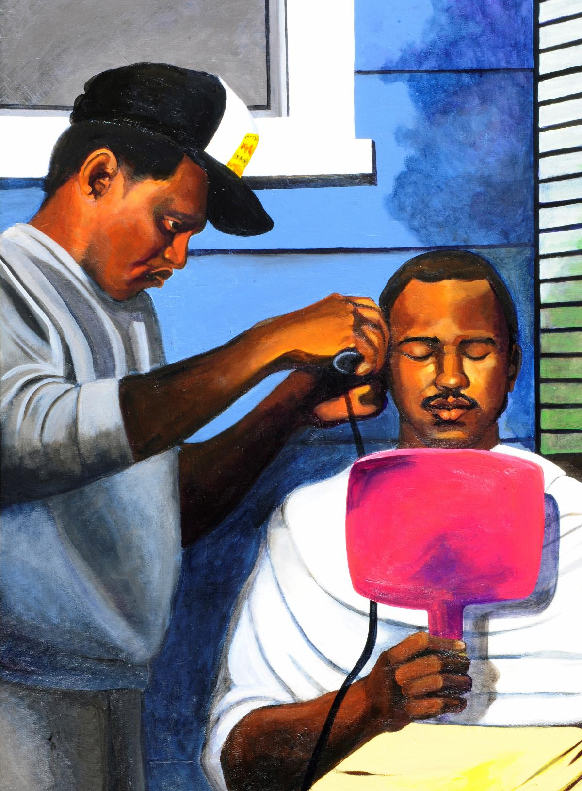 Backyard Barber Shop 40in x 30in acrylic on canvas 2019 Cousin Clifford the day before the wedding