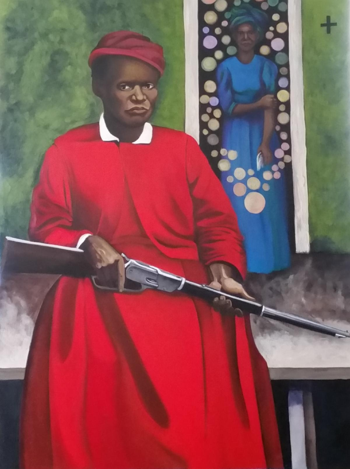 Stagecoach Mary 60x40 acrylic on canvas 2019 Mary Fields first African American female mail carrier in the American West