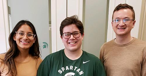 Work Life Office interns Yera Patel and Larry Eiden and Hudson Bennett