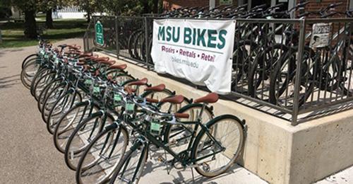 bikes outside of the MSU bike store