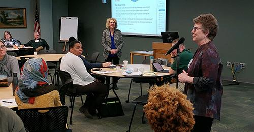 Barbara Roberts introducing Debra Dubow during the Creating a Culture of Trust in the Workplace Event