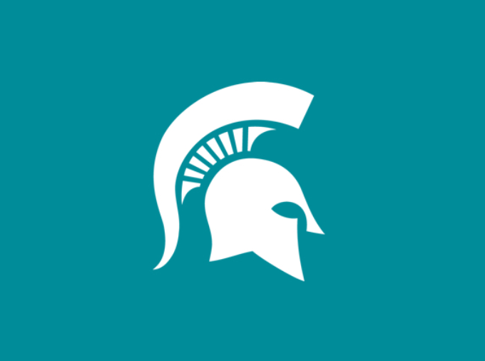 White Spartan helmet overlaid on a teal background in honor of Sexual Assault Awareness Month