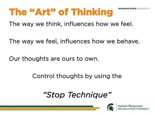 slide from the presentation talking about the Art of Thinking period Full description is available on the website