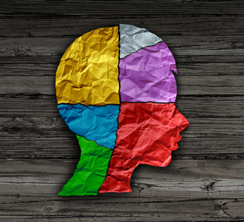 Child mood psychology change as a young person head shape made from crumpled paper as a mental health metaphor for brain thinking disorder in a 3D illustration style.