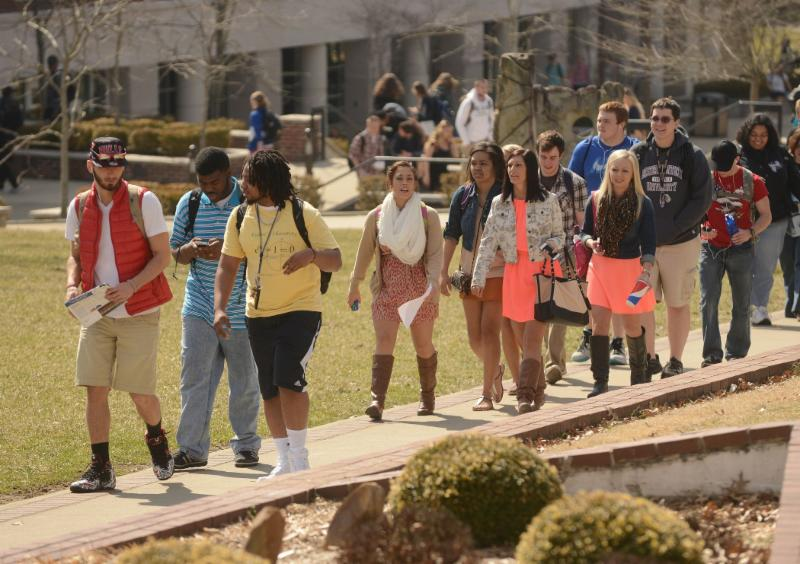 students spring outside
