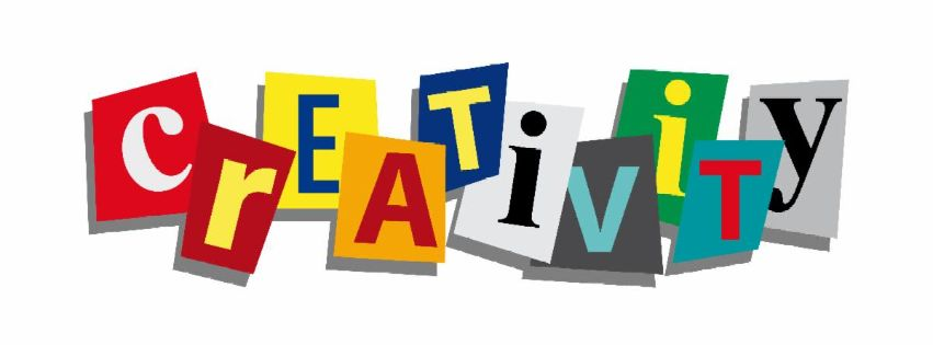 White background with colorful cut-out squares with letters spelling the word CREATIVITY