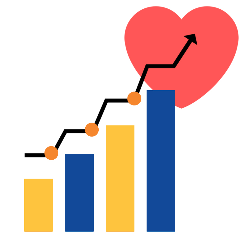 Graph and heart image