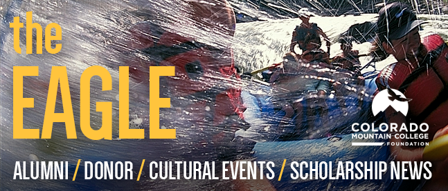 """Email Banner: """"The Eagle: Alumni / Donor / Cultural Events / Scholarship News"""". Background photo of CMC students on a raft trip going through whitewater."""