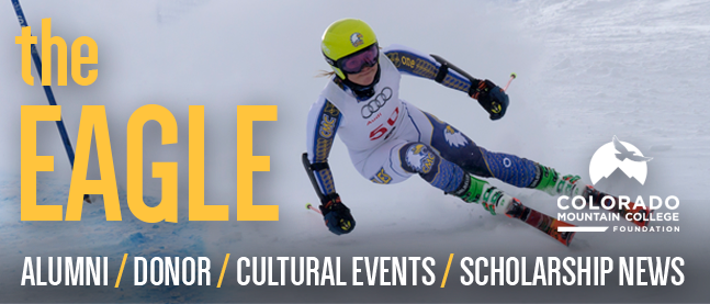 Banner: The Eagle - alumni, donor, cultural events, scholarship news. Featuring the image of CMC ski team member Mary Kate Hackworthy skiing a slalom event.