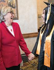 Summit mentor, Sharon Koblinsky with student Flor Cruz Valdez at Graduation 2018.