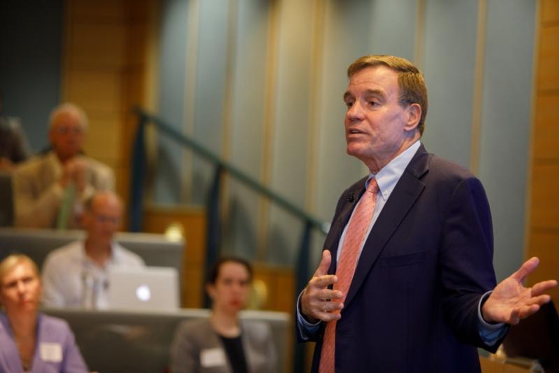 Senator Warner speaking at George Washington University