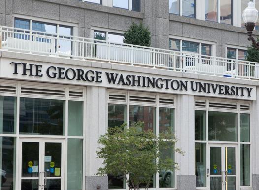 The George Washington University words across the building - Arlington Education Center