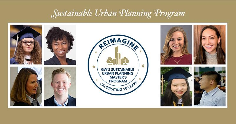 Sustainable Urban Planning Program, Reimagine GW Sustainable Urban Planning Master's Program logo Celebrating 10 Years with a circle and stars and building illustration in gold