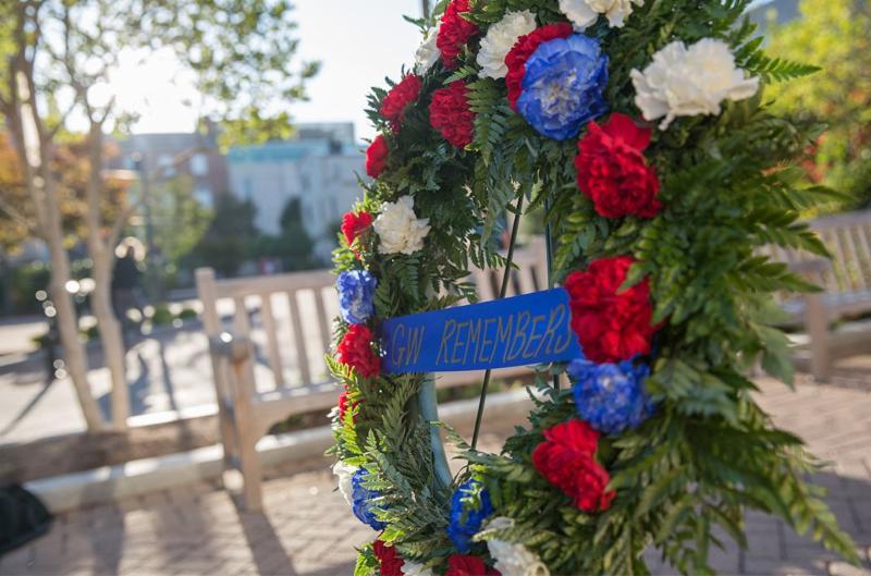 """GW Memorial Day wreath says """"GW Remembers"""""""