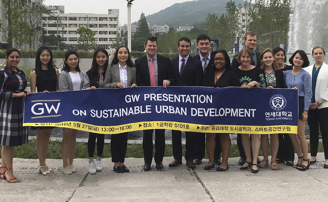 Dr. Carruthers with SUP students in Korea on study abroad trip with GW