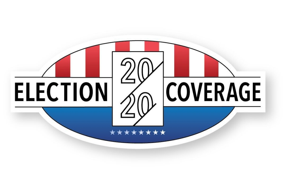 2020 Election Coverage with red, white and blue graphic slighly reminding one of the US flag with red and white stripes vertical and one stars on blue, but shape is an oval