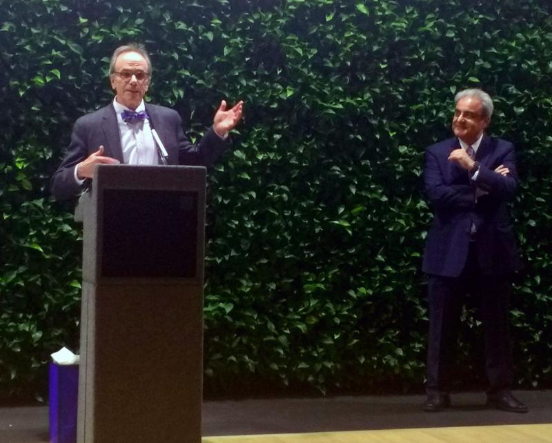 GSEHD Dean Feuer speaks at reception for former Dean Ali Eskandarian