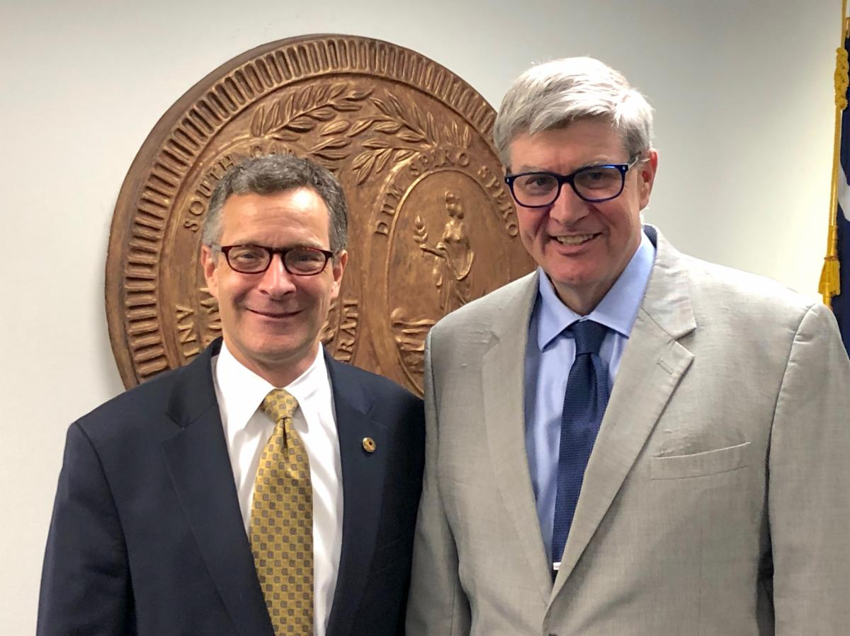 (L-R) Jeff Perez, SCICU president and CEO; and Rusty Monhollon, new president and executive director at S.C. Commission on Higher Education.
