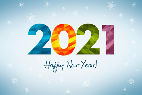 Happy New Year 2021_ concept of a New Year s greeting card with winter theme_ large inscription 2021 composed of colorful geometric figures