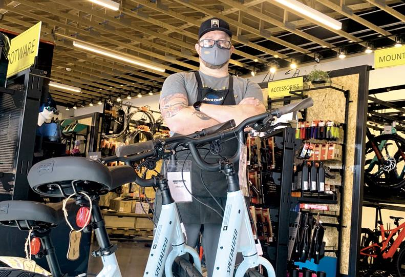 Chris White, store manager at Wheel Sports' North Side shop, says sales are up a whopping 340% this year, and some products are difficult to get in stock.