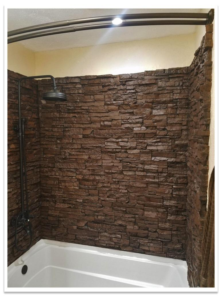 Shower with Norwich Stacked Stone Chocolate