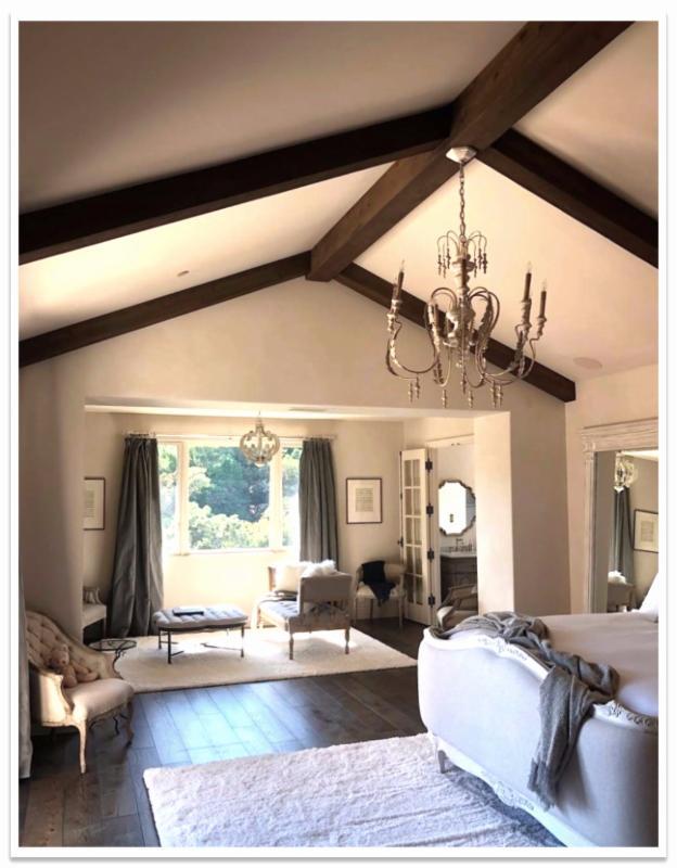 Bedroom with Barnboard beams