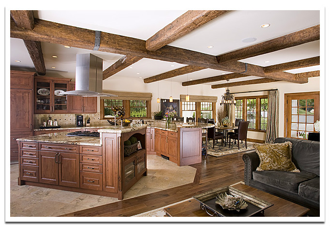 Open plan room with Custom Timber Beams
