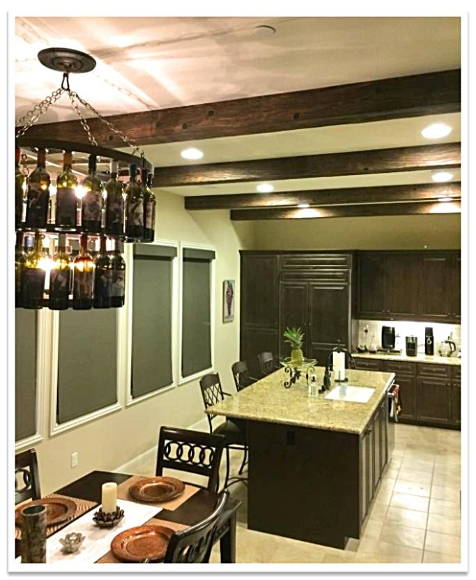 Custom Heritage Beams in a kitchen