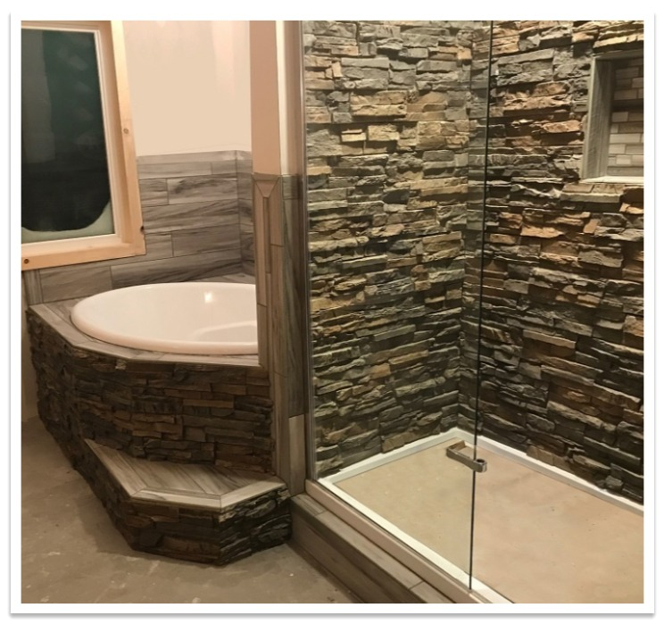 Shower and tub with Regency Stacked Stone