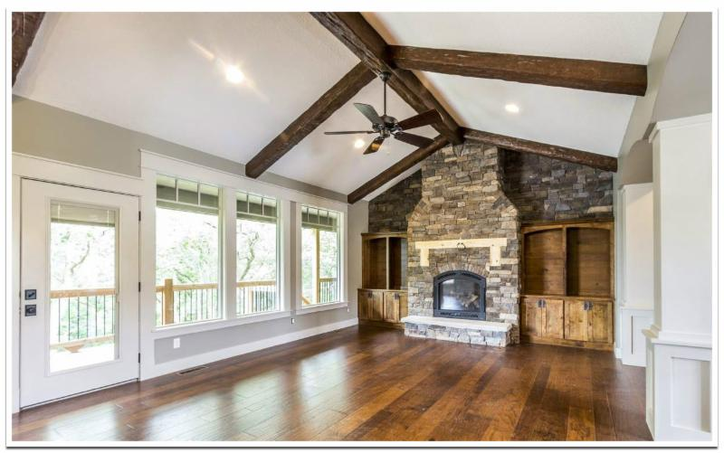 Great room with Custom Timber beams