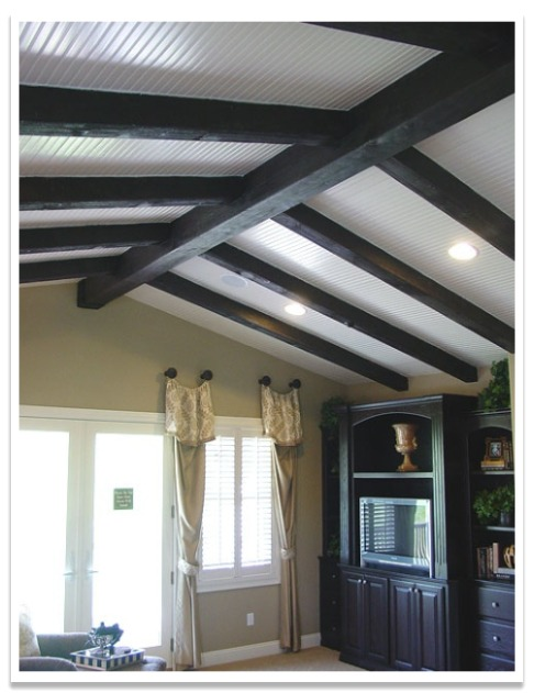 Bedroom with Heavy Sandlbasted beams