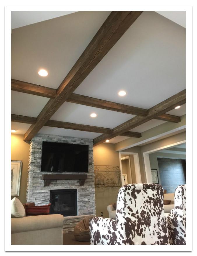 Living room with Custom Driftwood Beams