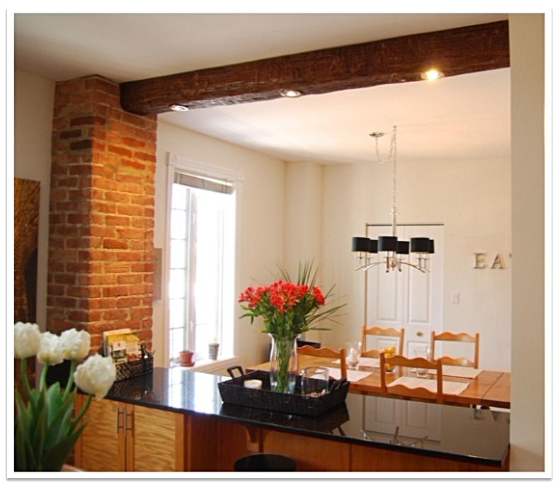 Timber beam with recessed lights