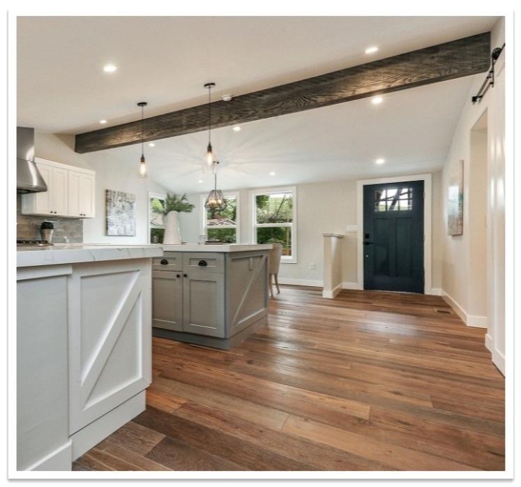Custom Reclaimed beam in a kitchen