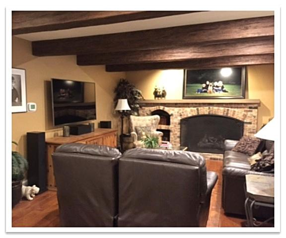 Living room after with Timber Beams