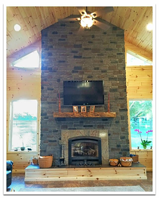Fireplace with Carlton Ledgestone in Smoke color