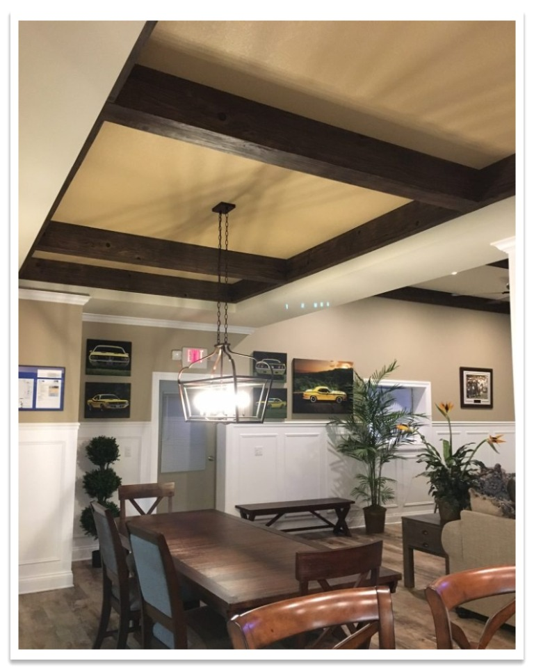 Tray ceiling with Driftwood beams